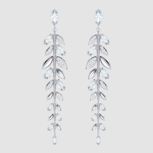 SWAROVSKI Mayfly Pierced Earrings, Long, White, Rhodium plating
