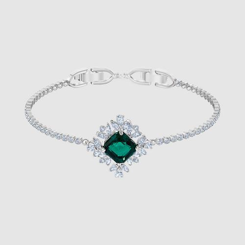 SWAROVSKI Palace Bracelet, Green, Rhodium plated - Size M