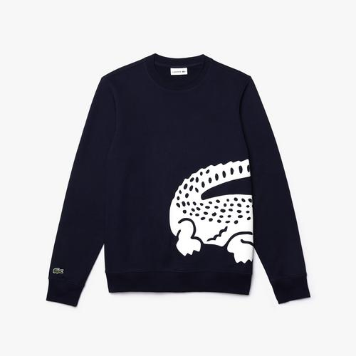 LACOATE Men's Oversized Crocodile Crew Neck Sweatshirt - 4