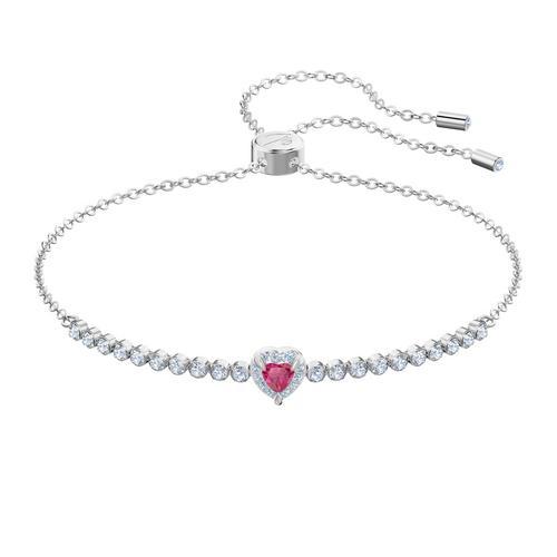 SWAROVSKI One Bracelet, Red, Rhodium plated
