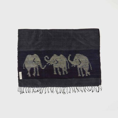 PRAEPRAO Buriram Silk Shawl - Elephant Stripe's feets 65 X 180 cm. Color NAVY
