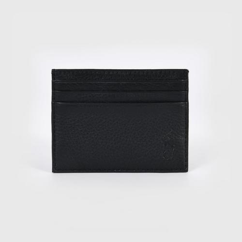 POLO RALPH LAUREN PEBBLE LEATHER MULTI CARD CASE SMOOTH LEATHER - BLACK