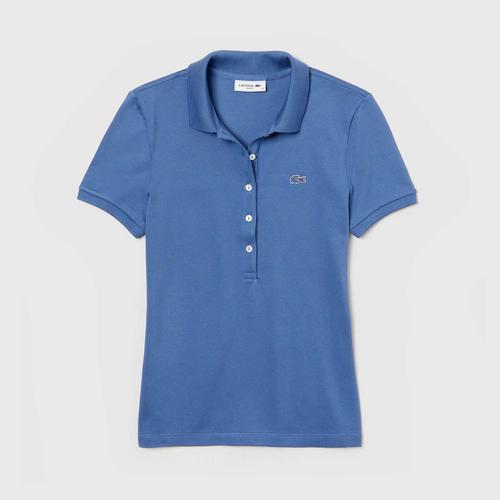 LACOSTE Women's Lacoste Slim Fit Stretch Mini Cotton Piqué Polo Shirt (Blue) - Size 38