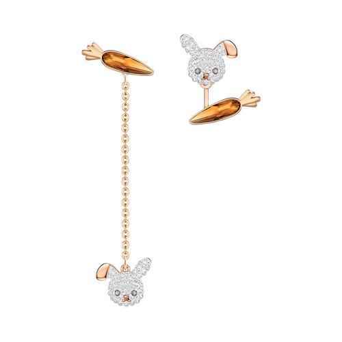 SWAROVSKI Little Bunny 穿孔耳环计, 镀玫瑰金色
