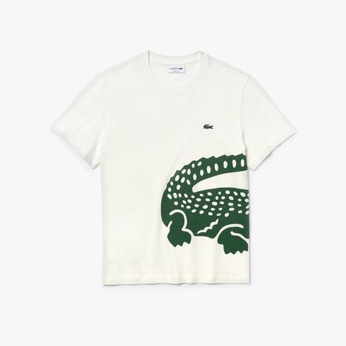 LACOSTE Men's Oversized Crocodile Print Crew Neck T-shirt - 4