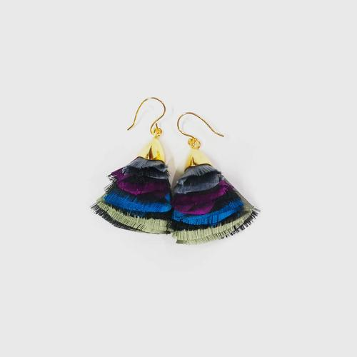 LA ORR Earrings BB; Thaisilk + brass ; 18 K gold plated