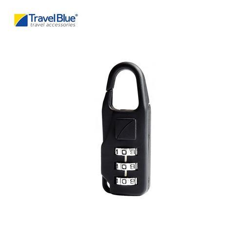 Travel Blue TB034B Combi DeLuxe Carabiner 3 Dial Combination Padlock - Black