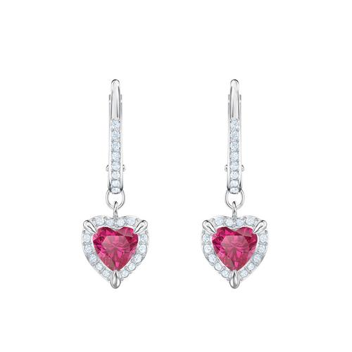 SWAROVSKI One Pierced Earrings, Red, Rhodium plated