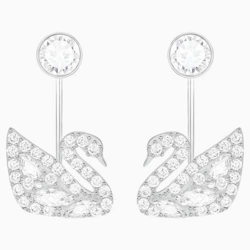 SWAROVSKI Swan Lake Pierced Earring Jackets, White, Rhodium plating