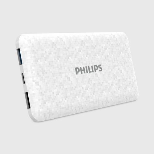 Philips Powerbank 10,000mAh Li-Polymer, USB1 2.1A, USB2 1A (total out max 2.1A). Micro USB 2A + Type C 2A (input only) - Mosaic White