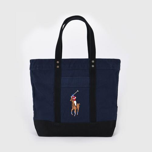 POLO RALPH LAUREN CANVAS MULTI PP TOTE CANVAS - NAVY/BLACK