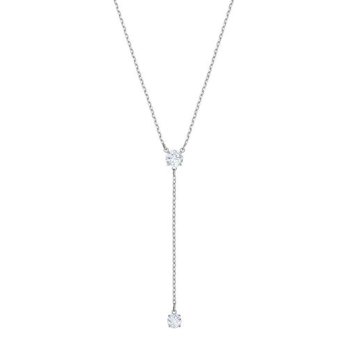 SWAROVSKI Attract Y Necklace, White, Rhodium plating
