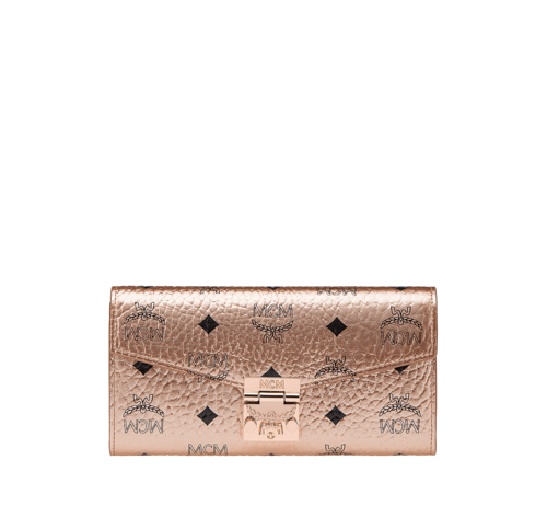 MCM PATRICIA VISETOS 2-FOLD LARGE WALLET WITH CHAIN - Champagne Gold