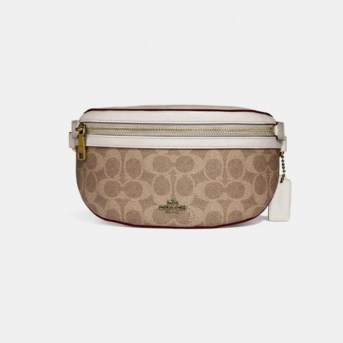 COACH Belt Bag In Signature Canvas - Brass/Tan Chalk