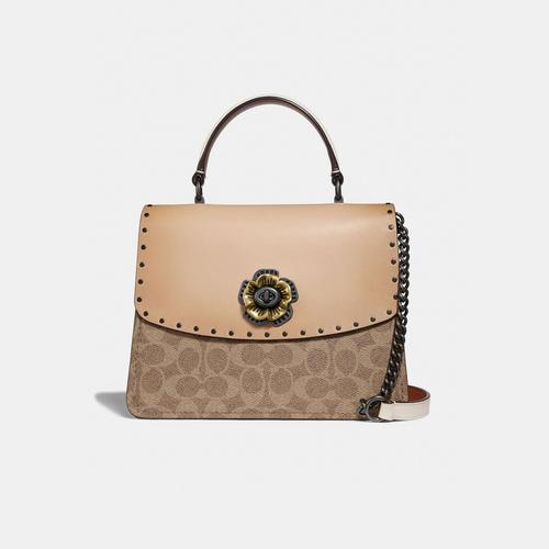 COACH Parker Top Handle In Signature Canvas With Rivets - Tan Beechwood/Pewter