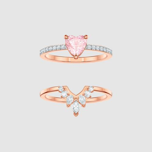 SWAROVSKI One Set, Multi-colored, Rose-gold tone plated - Size 55