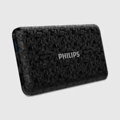 Philips Powerbank 10,000mAh Li-Polymer, USB1 2.1A, USB2 1A (total out max 2.1A). Micro USB 2A + Type C 2A (input only)- Mosaic Black
