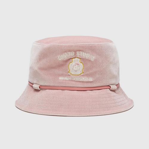CHATO STUDIO Velvet Bucket Hat-Pink