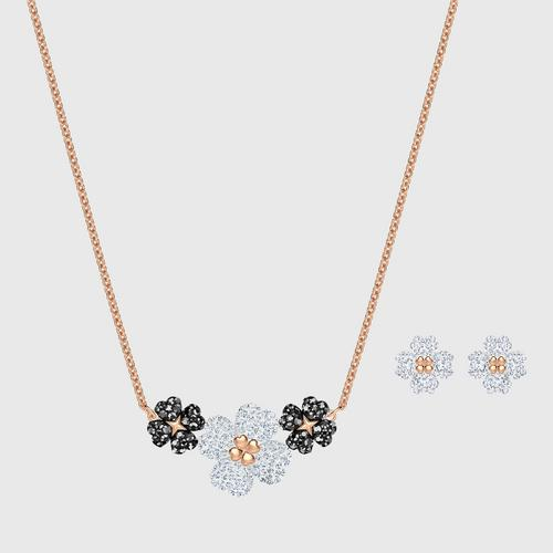 SWAROVSKI Latisha Set, Black, Rose-gold tone plated