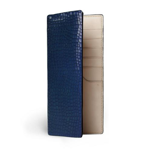 CONTAINER EMBOSSED CROC LONG WALLET BLUE