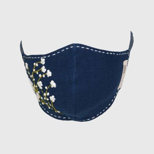 Nine Chaidee : Mask With Hand Embroidered Cotton - Indigo
