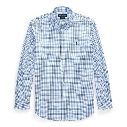 修身版型格纹府绸衬衫