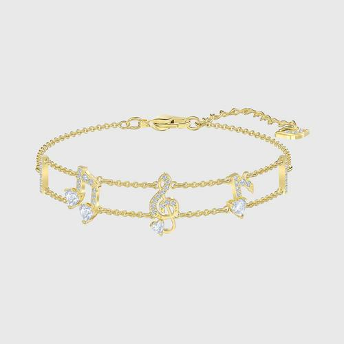 SWAROVSKI Pleasant Bracelet, White, Gold-tone plated - Size M