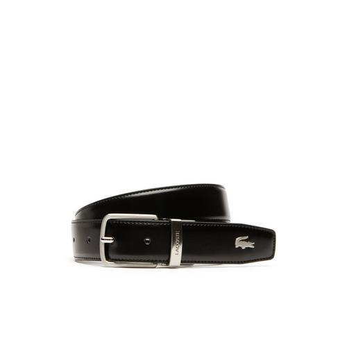 LACOSTE Men's Lacoste Engraved Tongue Buckle Reversible Leather Belt - BLACK/BROWN