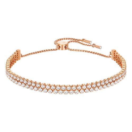SWAROVSKI Subtle Double Bracelet, White, Rose Gold Plating