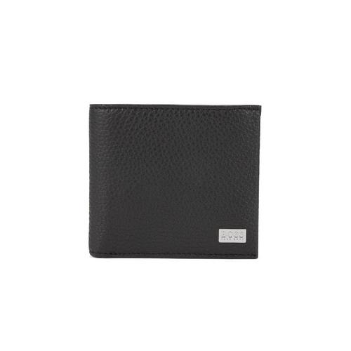 HUGO BOSS Eight-card billfold wallet in grained Italian leather (Black)