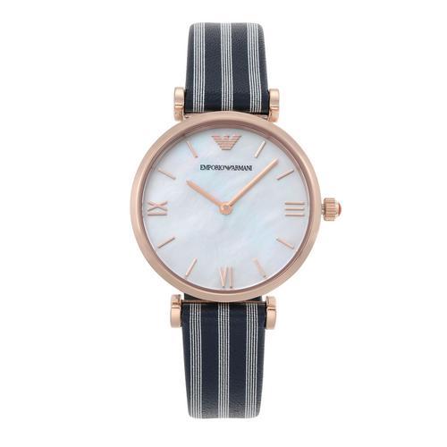 EMPORIO ARMANI Gianni T-Bar Analog Blue Leather Watch