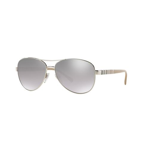 BURBERRY Silver Light Grey Mirror Grad Silver Female Sunglasses