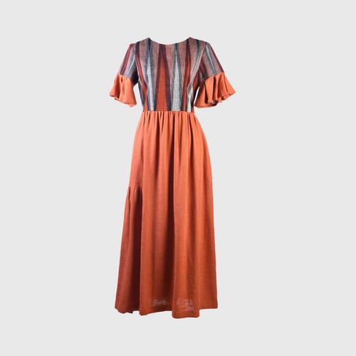 HATTRA Ruffle Sleeve Dress - Orange - S