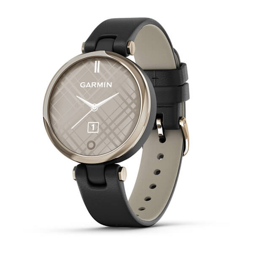 GARMIN Lily™ - Cream Gold Bezel with Black Case and Italian Leather Band