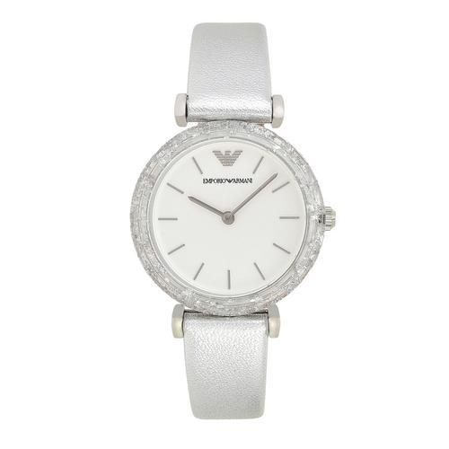 EMPORIO ARMANI Gianni T-Bar Analog Silver Leather Watch