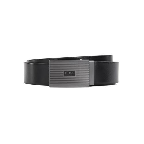 HUGO BOSS Leather belt with ridged plate buckle (Black)