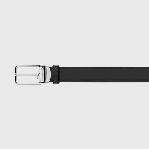 MONTBLANC Trapeze Shiny Stainless Steel with Black Enamel Pin Buckle