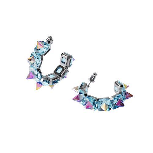 SWAROVSKI Chroma hoop earrings Blue, Rhodium plated