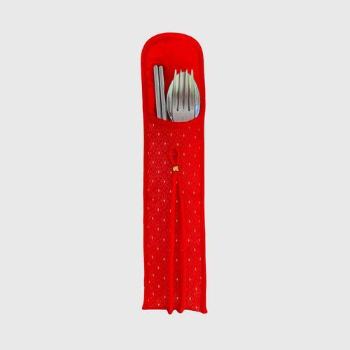 KACHA Utensil Pocket Silk - Red