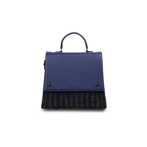 VT THAI LAILA WICKER HAND BAG -Navy
