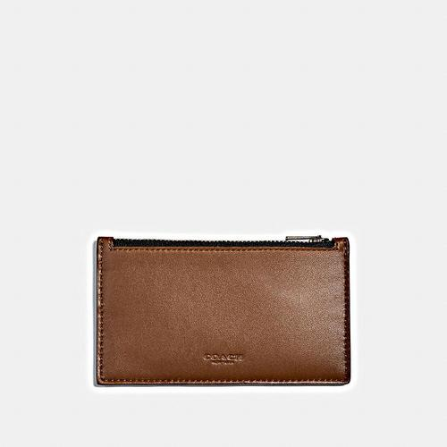 COACH Zip Card Case in Refined Calf - SADDLE