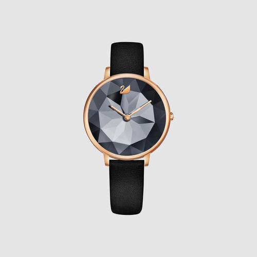 SWAROVSKI Crystal Lake Watch, Leather strap, Black, Rose gold tone