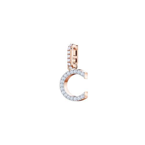 SWAROVSKI Remix Collection Charm C, White, Rose gold plating