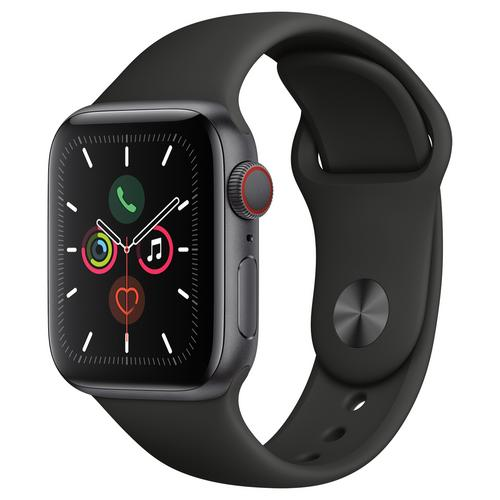 Apple Watch Series 5 Space Gray Aluminum Case with Sport Band (Black)