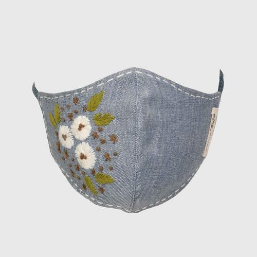 Nine Chaidee : Mask With Hand Embroidered Cotton - Gray