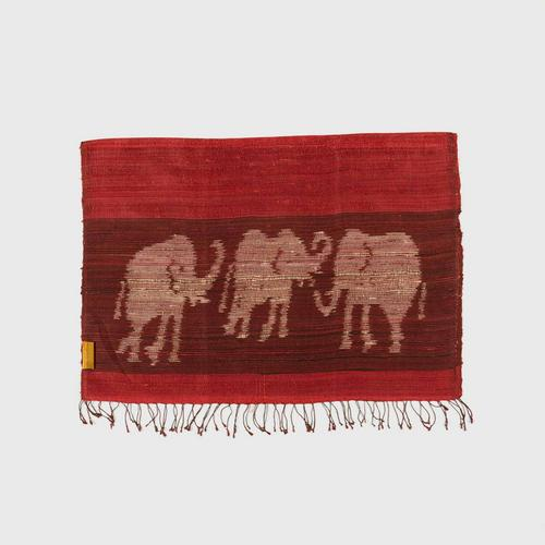 PRAEPRAO Buriram Silk Shawl - Elephant Stripe's feets 65 X 180 cm. Color RED