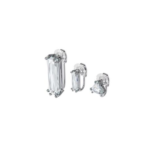 SWAROVSKI Mesmera clip earring Single, Set, Baguette cut crystal, White, Rhodium plated