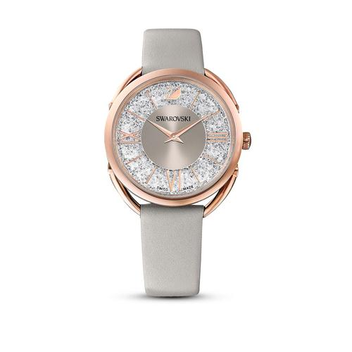 SWAROVSKI Crystalline Glam Watch, Leather Strap, Gray, Rose-gold tone PVD