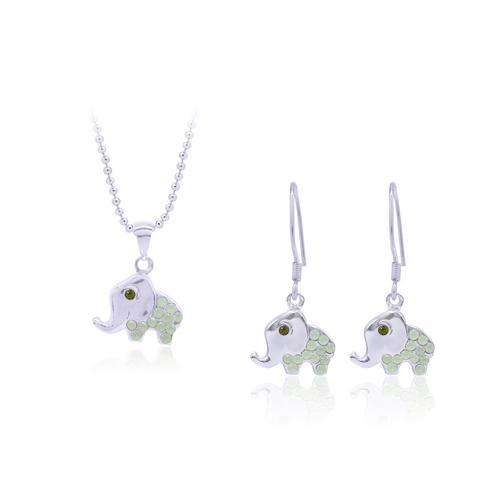 12VICTORY Thai Chrysolite Opal 橄榄绿泰式小象套装饰品