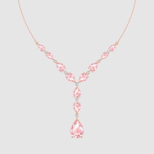 SWAROVSKI Vintage Necklace, Pink, Rose-gold tone plated